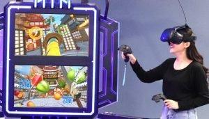 Playing VR Fruit Ninja